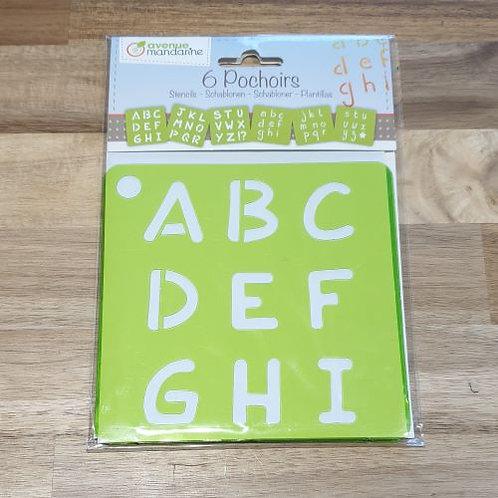 Avenue Mandarine Stencils 6 Pk Letters