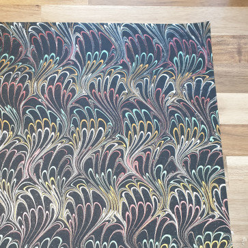 Papermirchi Multi-Coloured Marbled Black Wrapping Paper