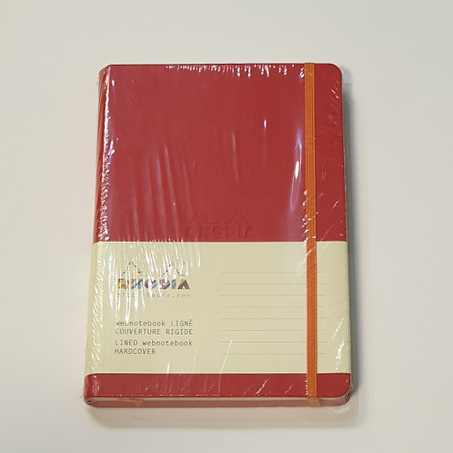 Rhodia Red Lined Hard-Cover Notebook 14x21cm