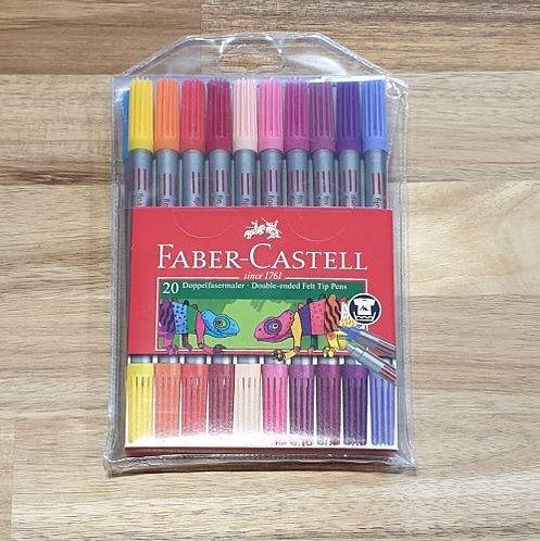 Faber-Castell Double Ended Felt Tip Pens 20 Pk