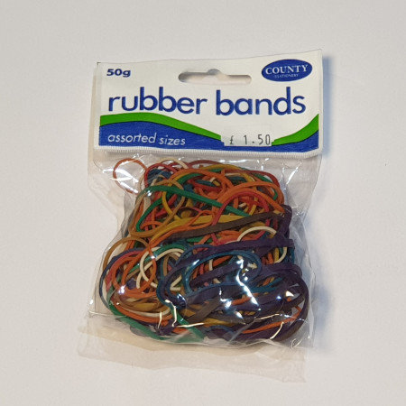 Rubber Bands 50g Assorted Sizes & Colours
