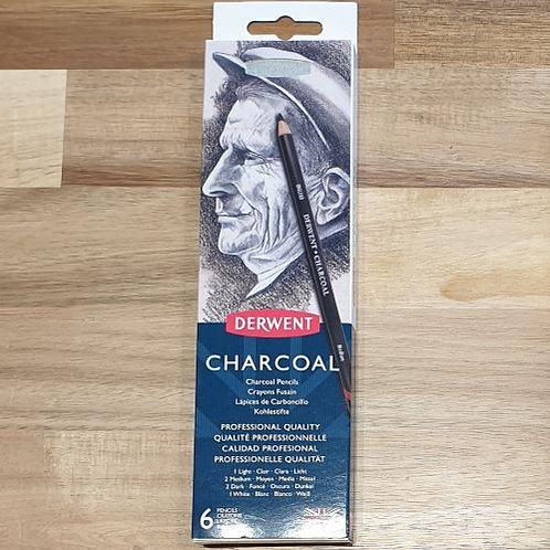 Derwent Charcoal Pencils 6 Pk
