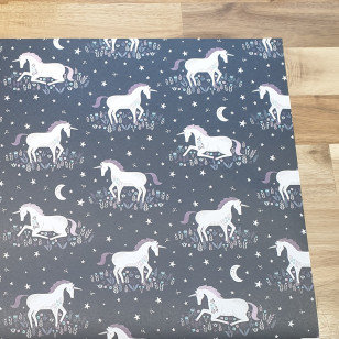 sass & belle Unicorns on Black Gift Wrap Paper