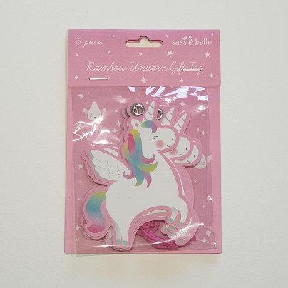 sass & belle Rainbow Unicorn Gift Tag 6 Pk