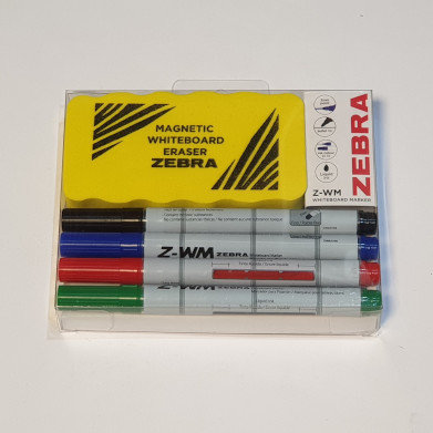 Zebra Whiteboard Markers and Rubber Set