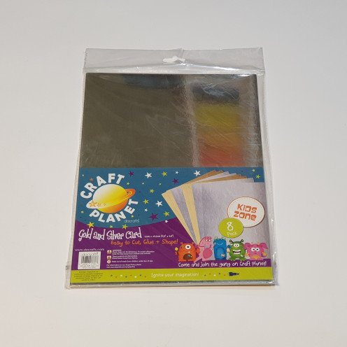 Craft Planet Gold and Silver Card 8 Pk