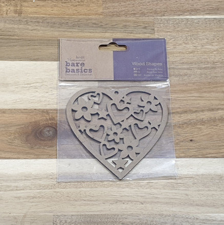 docrafts Papermania Bare Basics Wood Shapes Heart