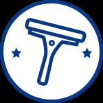 Blått på vitt rengöringsverktyg