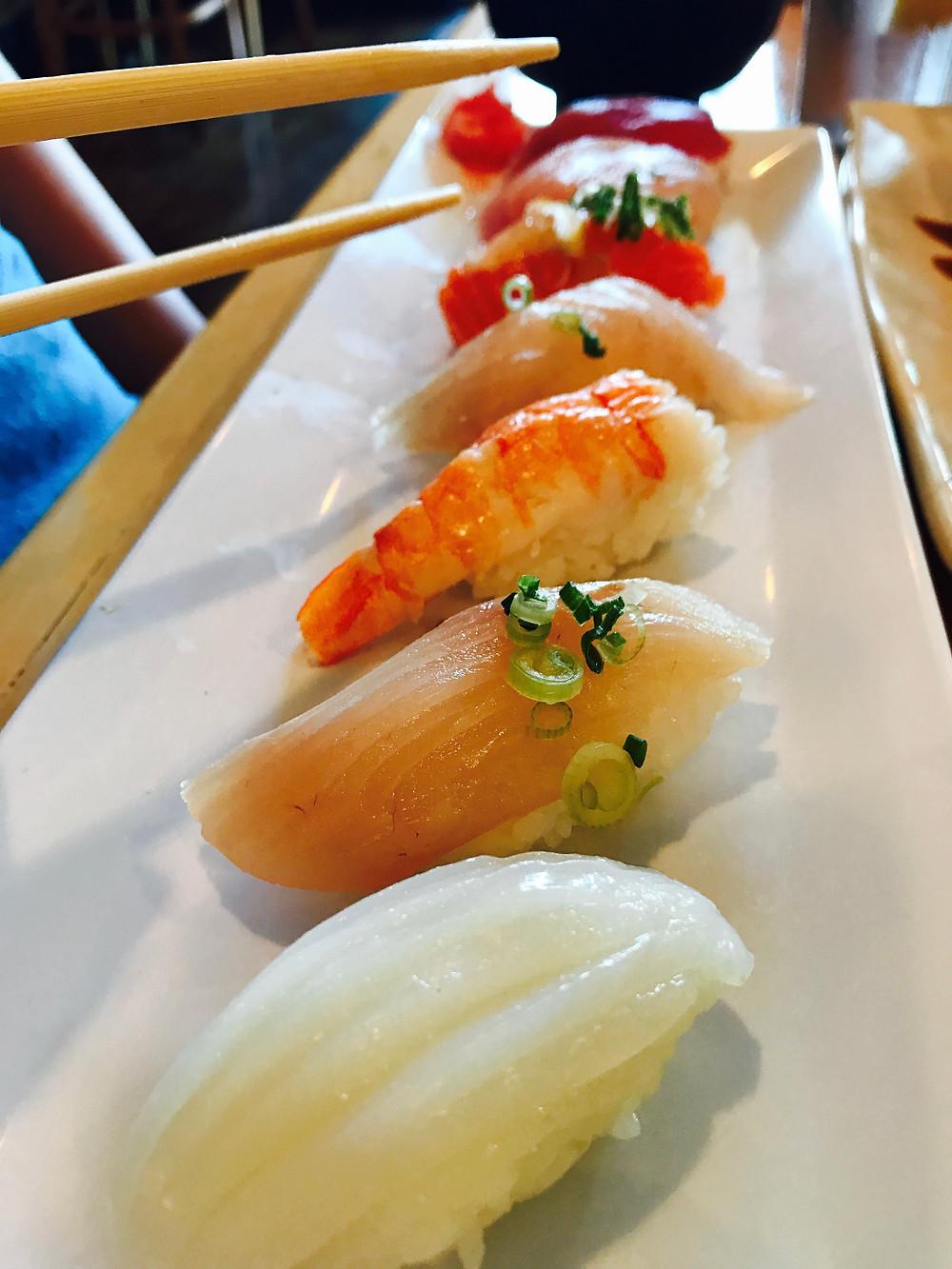 Tuna, salmon, ebi sushi