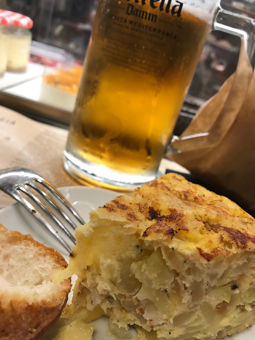 Spanish tortilla with a beer