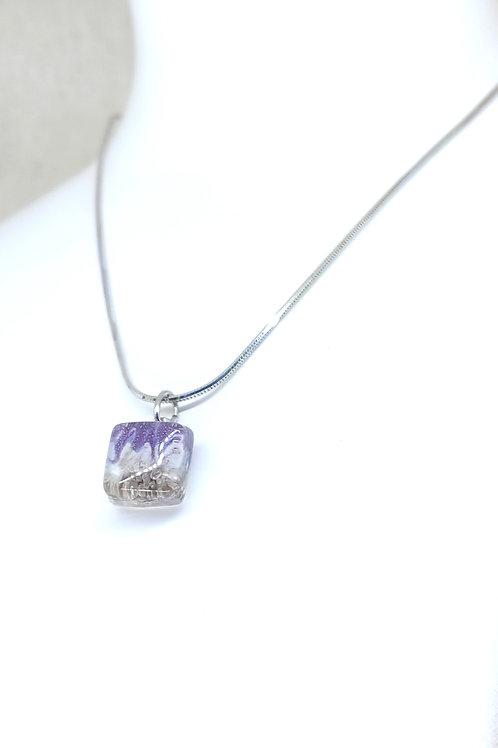 small purple rain square necklace
