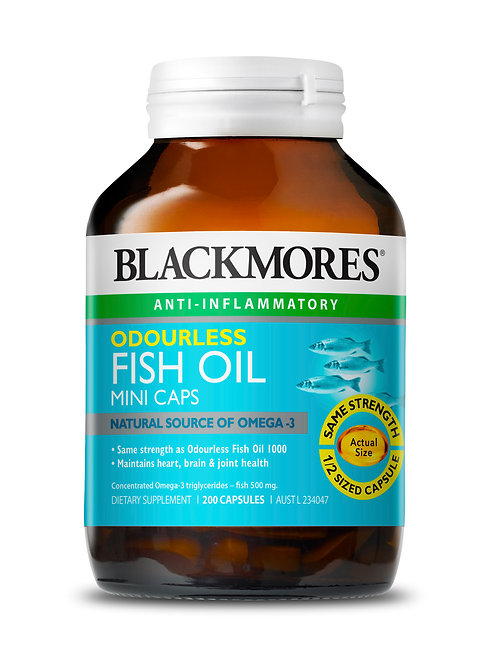 Blackmores Odourless Fish Oil Minis 200 Capsules (₱9.42/Cap) EXP-Sep2021