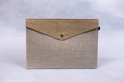 A4 Fabric Folder Pouch (Beige & Brown)