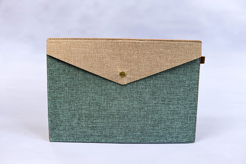 A4 Fabric Folder Pouch (Teal & Brown)