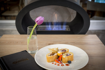 Fireplace at Brunch Bistro