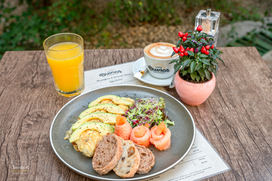 Delicious omelette with smoked salmon and avocado