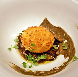Crispy Egg with Mushrooms and Truffle Vinaigrette