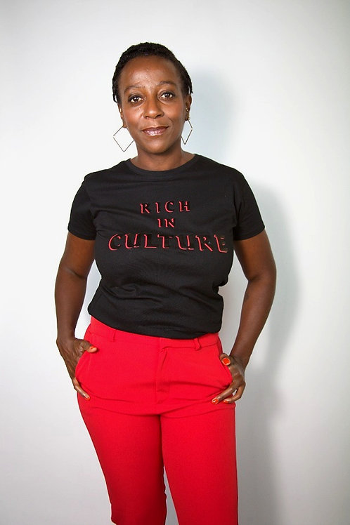 WOMEN'S BLACK & RED RICH IN CULTURE TEE