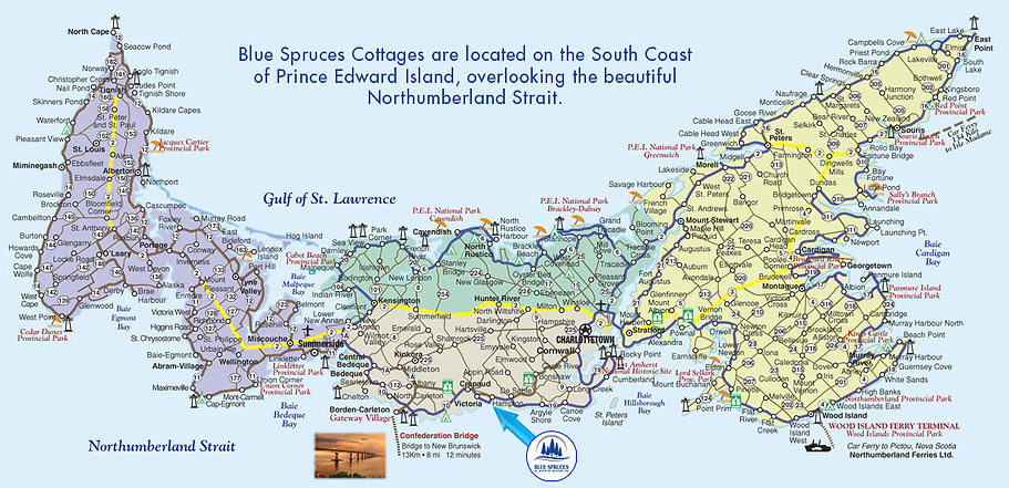 Blue Spruces Cottages Map. We are located in Hampton P.E.I.