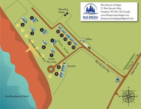 Blue Spruces Cottages Property Map Illustration. Located in Hampton, Prince Edward Island, Canada.