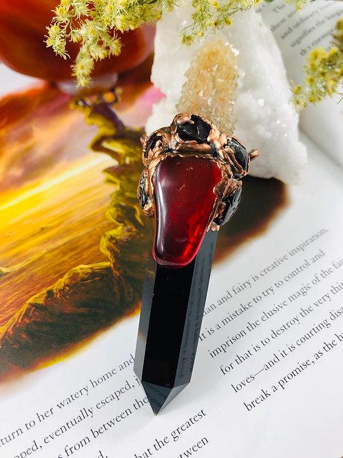 Black Obsidian/ Citrine Smoky Spirit Quartz/Common Red Opal & Garnet