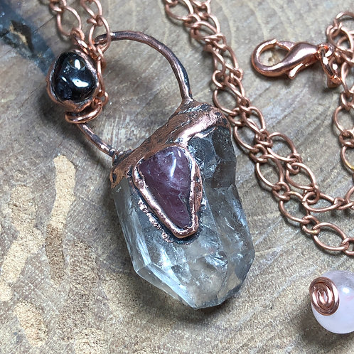 "Smoky Quartz/Watermelon Tourmaline/Garnet on 20"" Copper Chain"