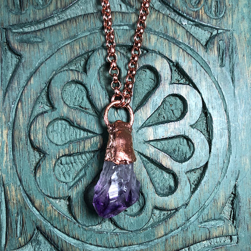 "Amethyst Copper Pendant w/26"" Shiny Copper Chain"