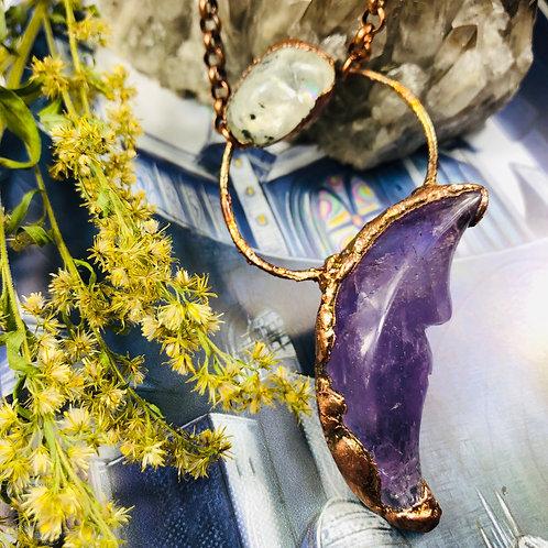 Crescent Moon Amethyst & Rainbow Moonstone Pendant & Helena Grace