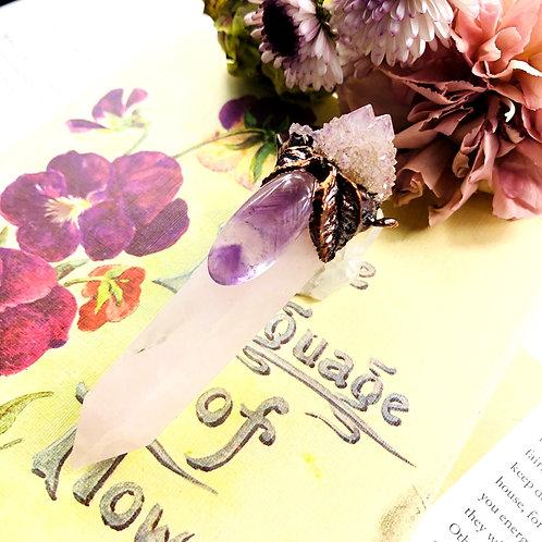 Violet~ Rose Quartz/Amethyst Spirit Quartz & Ametrine Pendant