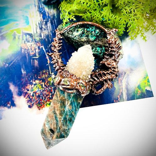 Seahorse Heart~ Smoky Spirit Quartz/Blue Apatite & Peridot