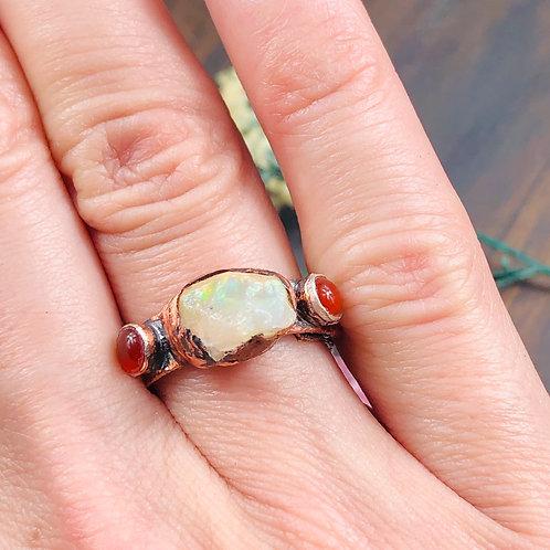Ethiopian Fire Opal & Carnelian Ring