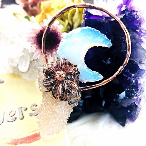 Ipomoea~ Moon Flower Opalite & Smoky Spirit Quartz