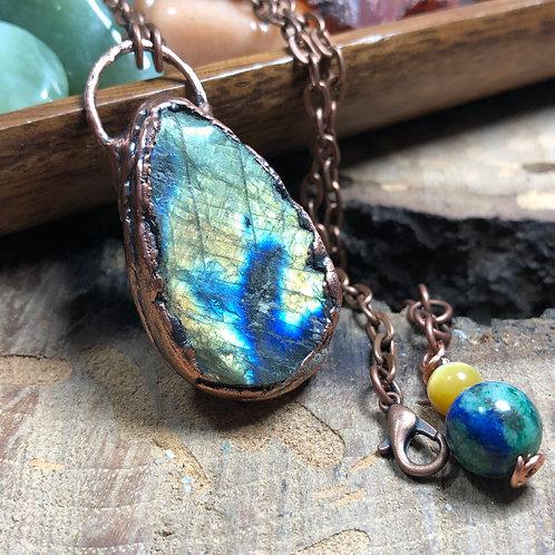"""Labradorite Druzy 26""""Copper Necklace"""