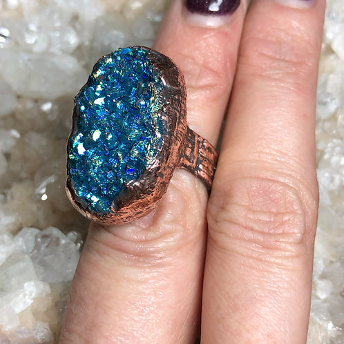 Ocean Blue Titanium Druzy Ring Size 5/6 Adjustable Band