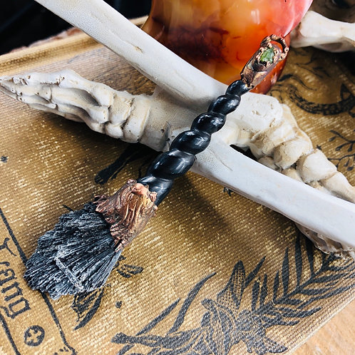 Let's Fly! ~Black Kyanite Witches Broom w/Peridot