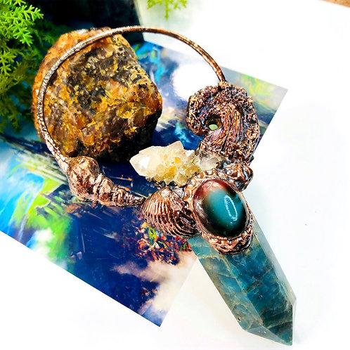 Crested Spirit~ Citrine Spirit Quartz, Blue Apatite & Banded Agate