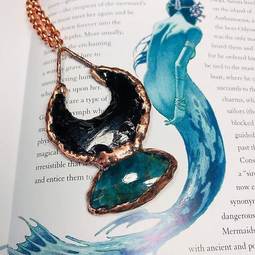 Ladon Goddess~ Black Obsidian & Blue Apatite