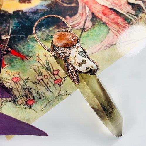 Fira~ Smoky Citrine Phantom/Sunstone & Moss Agate