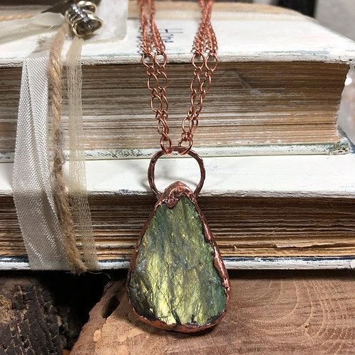 """Druzy Labradorite Pendant 17"""" Copper Double Chain"""