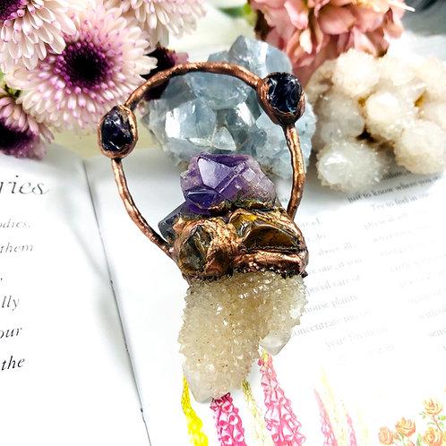 Lada~ Amethyst Flower/Smoky Spirit Quartz & Tigers Eye Talisman