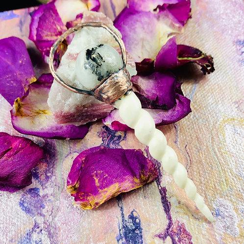 Cassia~ Rainbow Moonstone & Bone Horn