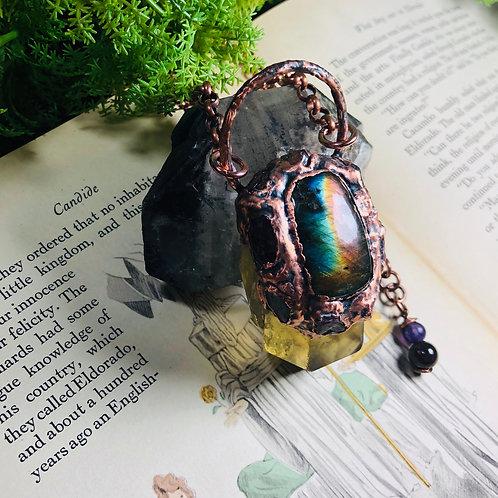 Daphnis~ Untreated Citrine/Purple Labradorite & Watermelon Tourmaline