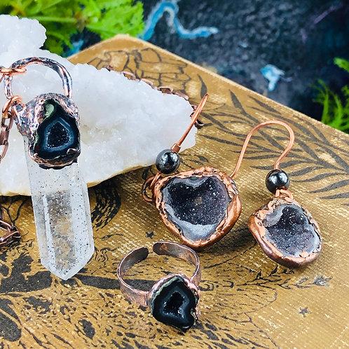 Custom Tabasco Geode Necklace/Ring & Earrings
