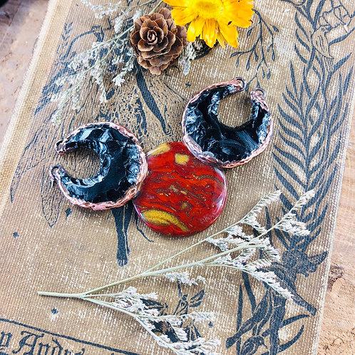Black Obsidian Crescent Moons & Red Jasper Chalcedony