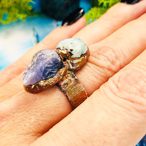 Violet Flame~Larimar & Tanzanite Ring~  Adjustable Size 6-7