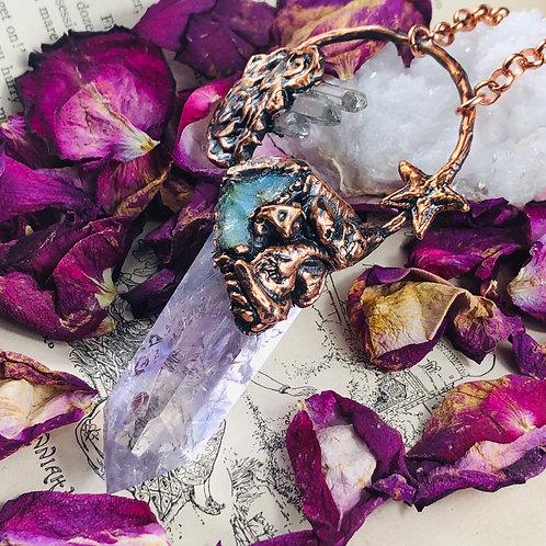 Falkor~ Amethyst Crystal Point & Opal w/Quartz