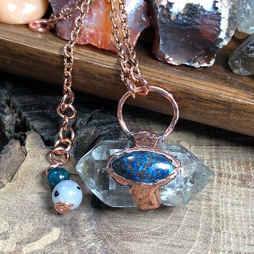 """Double Terminated Herkimer Diamond & Azurite 19"""" Copper Chain"""