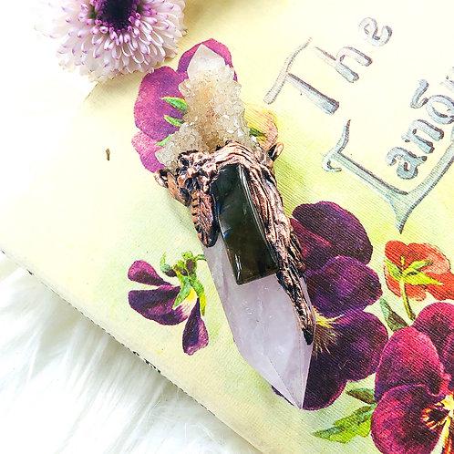 The Lady~ Rose Quartz & Smoky Citrine Spirit Quartz w/Labradorite Pendant