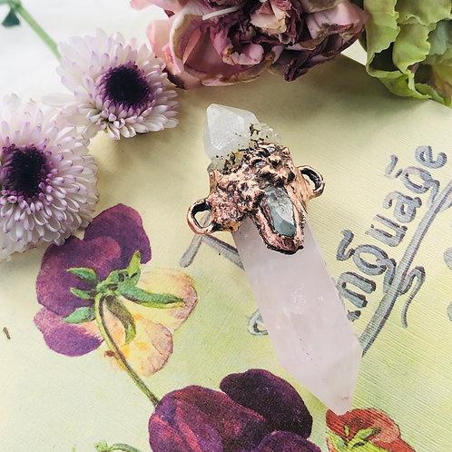 Magnolia~ Rose Quartz & Smoky Spirit Quartz w/Raw Aquamarine