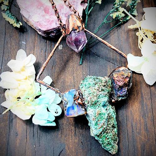 Cosmic Connection~ Fuchsite/Chalcopyrite/Fire Opal & Amethyst